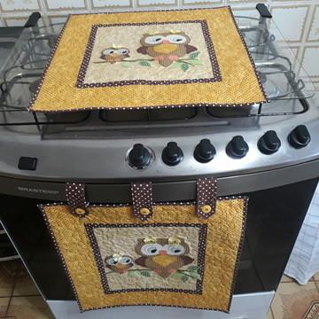 Kit cortina para forno, fogão e puxa sacos corujinha!!