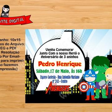 Convite Digital Os Vingadores Arte Digital - Whatssap