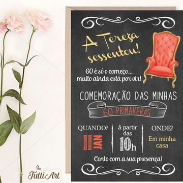 Convite 30 40 50 60 70 80 anos - Chalkboard Digital