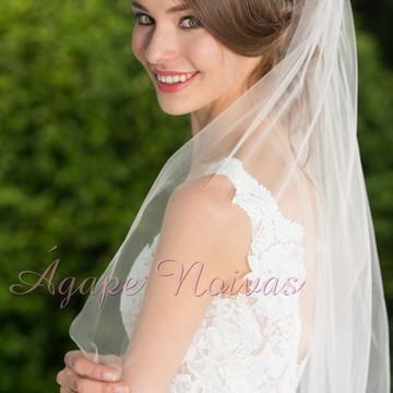 Véu de Noiva com Lacinho Simples Sem Barrado veu01L