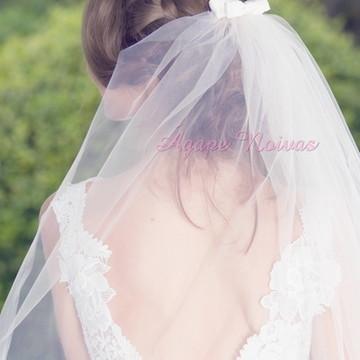 Véu de Noiva com Lacinho Duplo Simples Sem Barrado veu02L