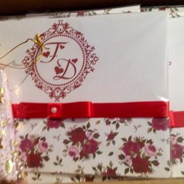 Convite de casamento Vermelho Floral