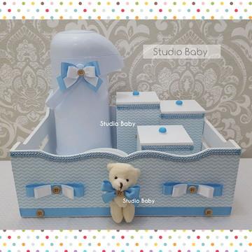 Kit Higiene Bebê Chevron Azul com Garrafa