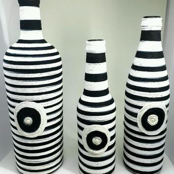 Kit com 3 garrafas decoradas com barbante 100% algodão