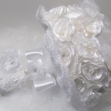 Buquê de Noiva Branco-Brinde Cravo de Lapela-Tendência 2018