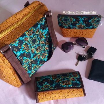 Bolsa com carteira e necessaire em tecido