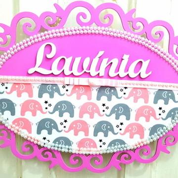 Plaquinha Elefantinhos Pink