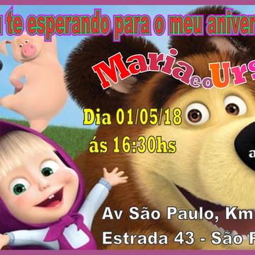 Convite Digital Masha e o Urso