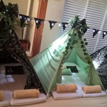 Aluguel de Cabana Para Festa do Pijama Camuflada