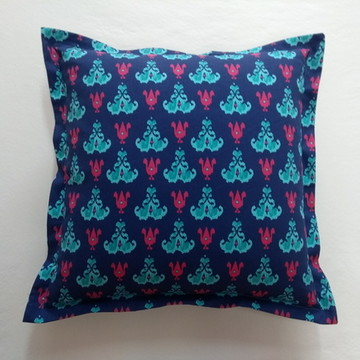 Almofada Estampada Azul Turquesa com pink