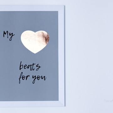 Quadro Frases My Heart Beats for You Foil Ouro Rosé - MBR