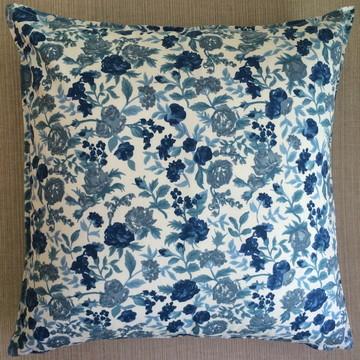Almofada Algodão Floral Azul