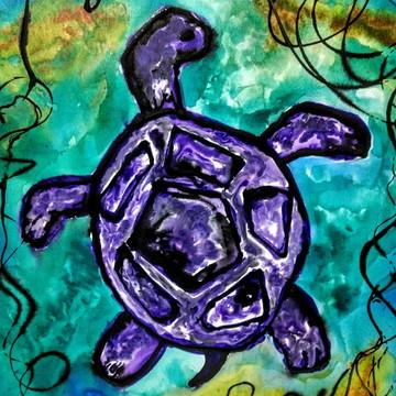 Painel Pintura Art Pop Em Acrílico Tartaruga 60x80x5