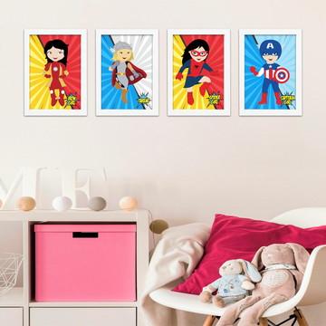4 Quadros com Moldura Super Heroínas Baby A4