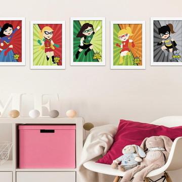 5 Quadros Decorativos Super Heroínas - Decoração Infantil