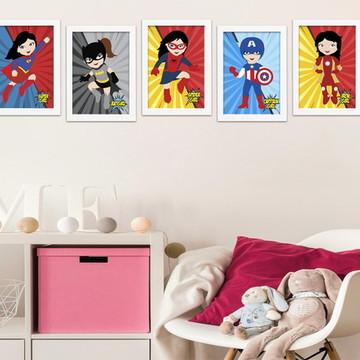 5 Quadros Super Heroínas - Decoração Personalizada