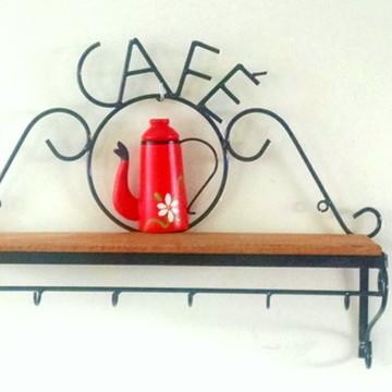 Prateleira Rústica Café Madeira e Ferro