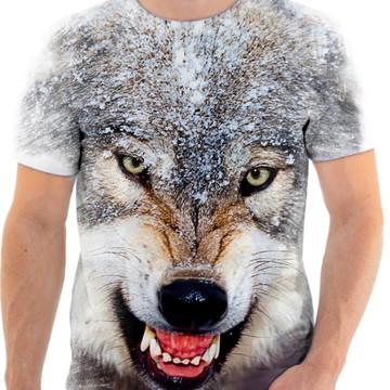 Camisa Camiseta Personalizada Animal Lobo Branco 1