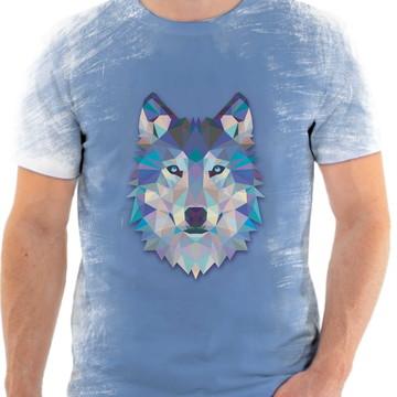 Camisa Camiseta Personalizada Animal Lobo Azul 2