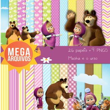 #2061 Kit 26 papéis digitais + 9 PNGS Masha