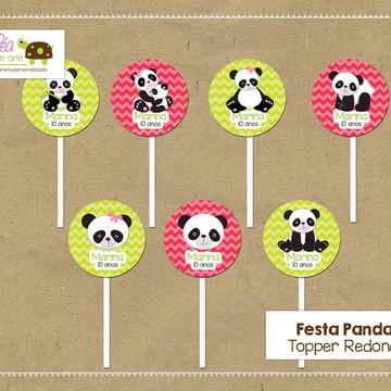 Topper redondo festa Panda