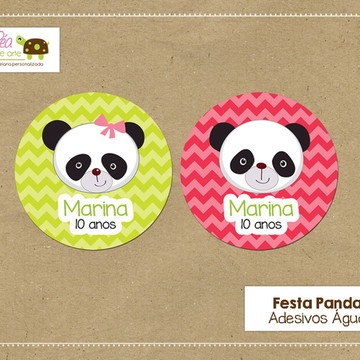 Adesivo água - Festa Panda