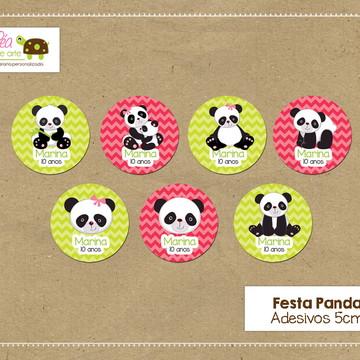 Adesivo redondo Festa Panda