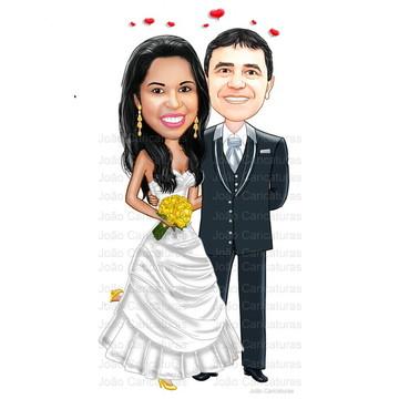 Caricatura digital de noivos-Tema casamento