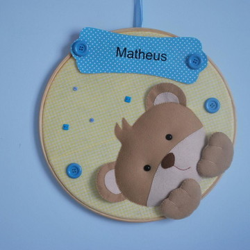 Enfeite Porta Maternidade Urso em Baatidor