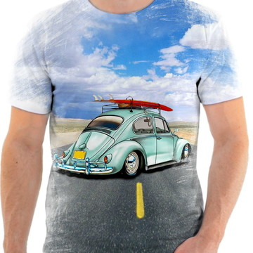 Camisa Camiseta Personalizada Carro Fusca Azul