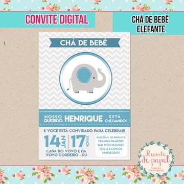 Convite Chá de bebê Elefante (DIGITAL)