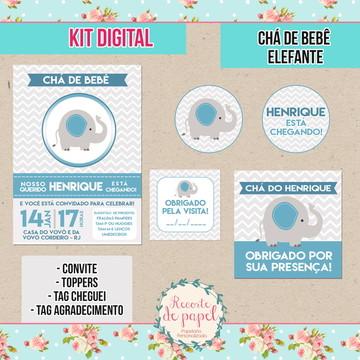 Kit Digital - Chá de bebê Elefante