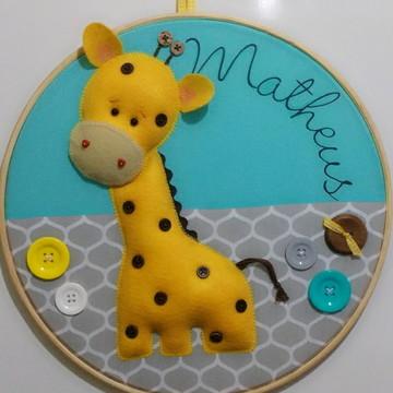 Quadro Maternidade Bastidor Girafa