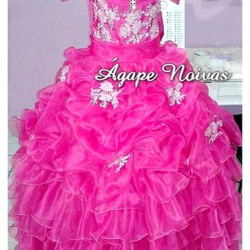 Vestido Infantil Festa Strass Daminha Miss Noivinha vi01me