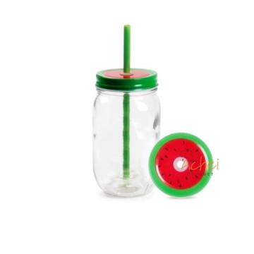 Caneca De Vidro Mason Jar De 450 Ml Com Estampa De Frutas