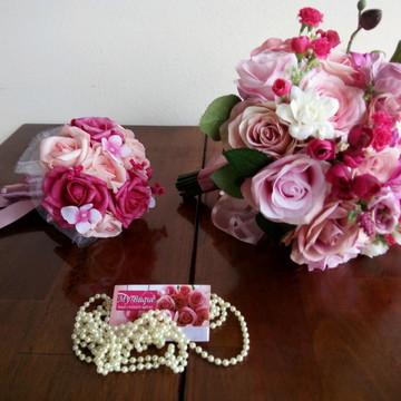 Kit Buquê Noiva Rosa