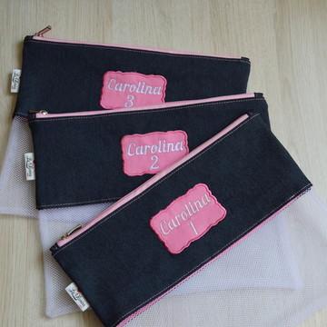 Saquinhos Organizadores Personalizados - Jeans + Rosa