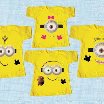 kit 4 Camisetas Divertida Minions