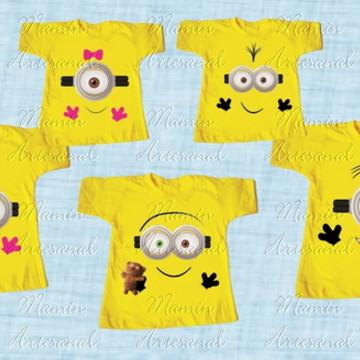 kit 5 Camisetas Divertida Minions