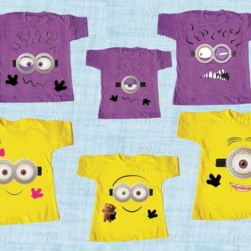 kit 6 Camisetas Divertida Minions