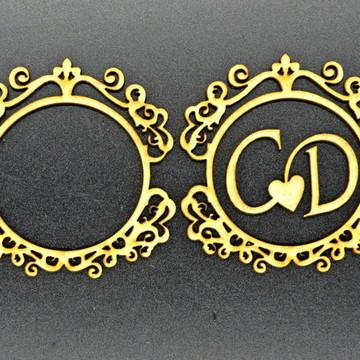 Brasão Monograma para festas em MDF cru com 2 iiciais
