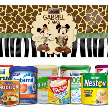 Rótulo para Lata de Leite Mickey Safari