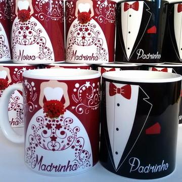 Caneca Porcelana Personalizada Padrinhos
