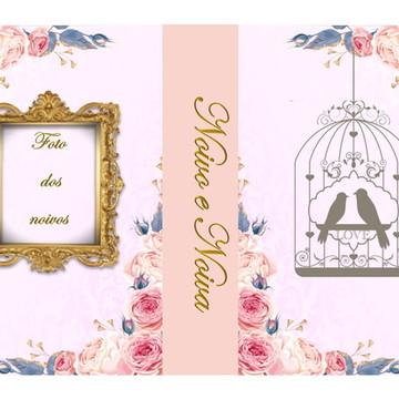 Convite para casamento floral (caixa livro)