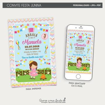 Convite Festa Junina Menina - arquivo digital