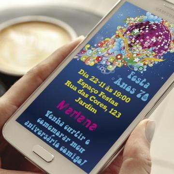 Convite Digital Anos 70 Whatsapp