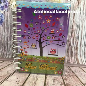 Bloco de anotações 10x15 Coruja lilas