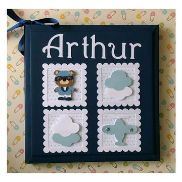 Diário do Bebê menino ursinho aviador scrapbook azul marinho