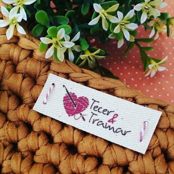 50 Etiquetas em lona branca ou crua: crochê tricô artesanato