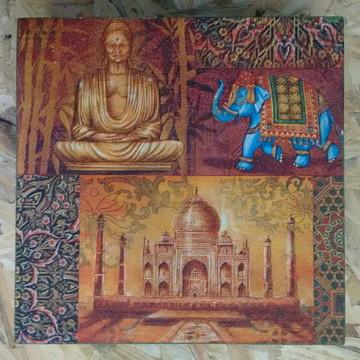 Cx MDF Pintada, cor Verde Folha, Motivos Indianos, Decoupage